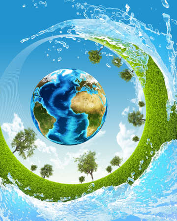 Earth, green grass and water  Elements of this image are furnished by NASA