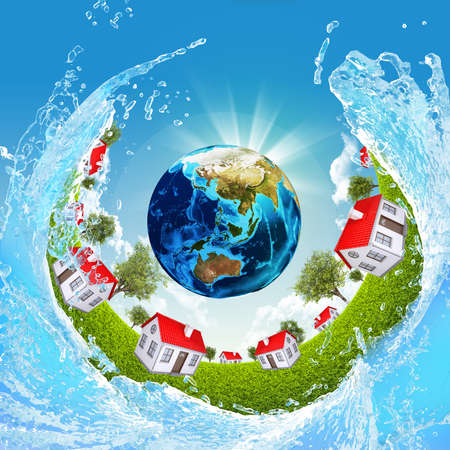 Earth, green grass, houses and water  Elements of this image are furnished by NASA photo