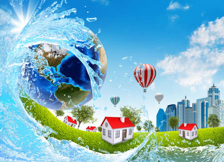 Earth, green grass, buildings and water  Elements of this image are furnished by NASA photo