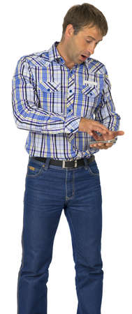Portrait of man using his smart phone against white background photo