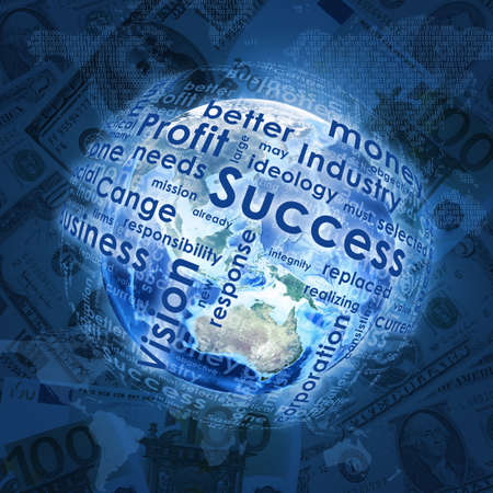 money sphere: Earth and sphere consists business words on money background   Stock Photo