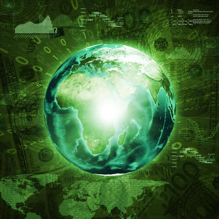 Earth, world map and graphs on money background  Business concept  photo