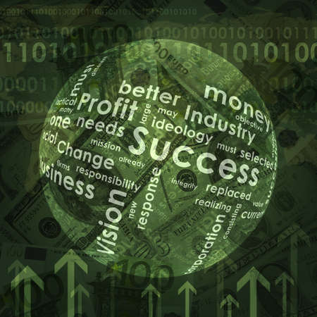 money sphere: Sphere consists business words and arrow on money background Stock Photo