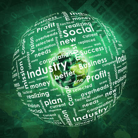 change business: Earth, sphere consists business words and graphs on money background   Stock Photo