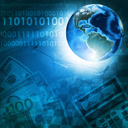 Earth, world map and figures on money background  Business concept   photo