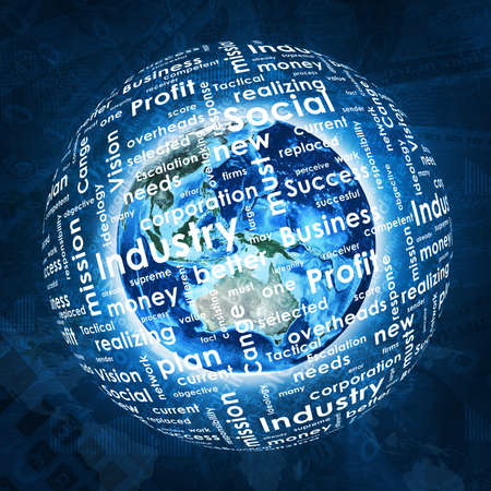 money sphere: Earth, sphere consists business words and graphs on money background   Stock Photo