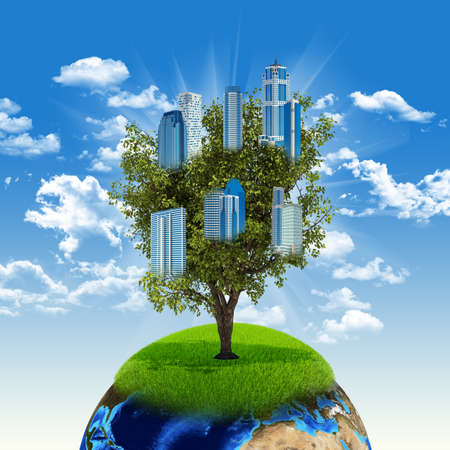 Earth and tree with buildings  photo
