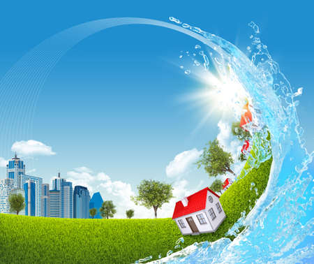Buildings, trees on green meadow and water splash photo