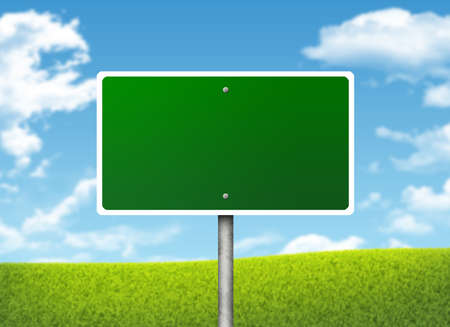 Crossroads road sign  Green grass and blue sky as backdrop