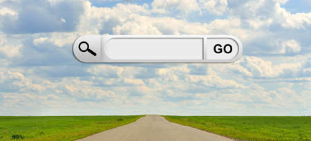 cloud search engine: Human hand indicates the search bar in browser