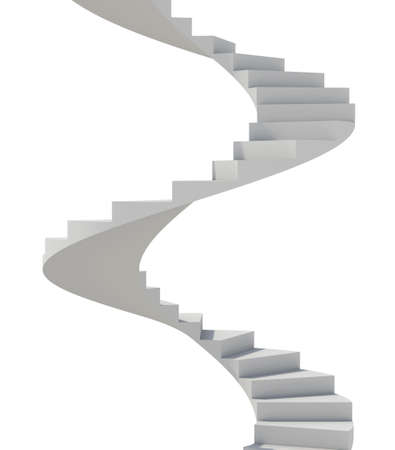 spiral staircase: White spiral staircase Stock Photo