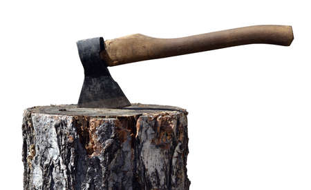 chock: Old ax in wooden chock