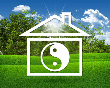 House icon with symbol of yin-yang photo