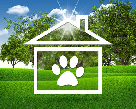 House icon with footprint of an animal photo