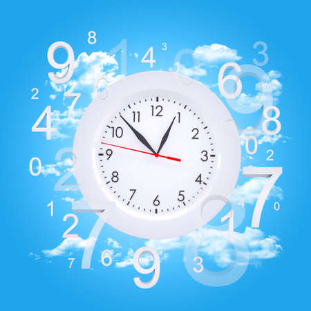 magic hour: Clock face with figures Stock Photo