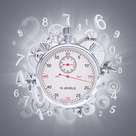 magic hour: Stopwatch with figures and gears Stock Photo