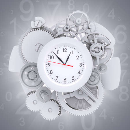magic hour: Clock face with figures and white gears Stock Photo