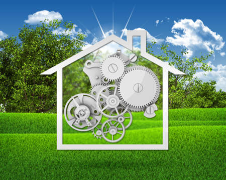 House icon with gears photo