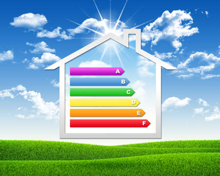 House icon with grid energy efficiency photo