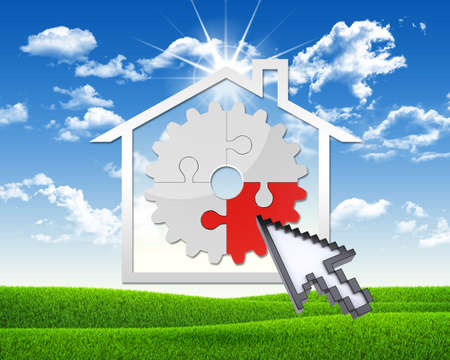 House icon with gear of puzzles photo