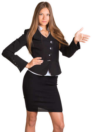Businesswoman points hand toward