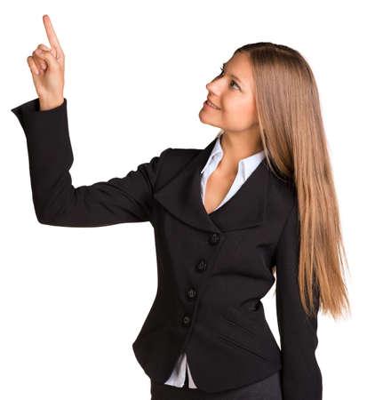 Businesswoman pointing her finger upward photo