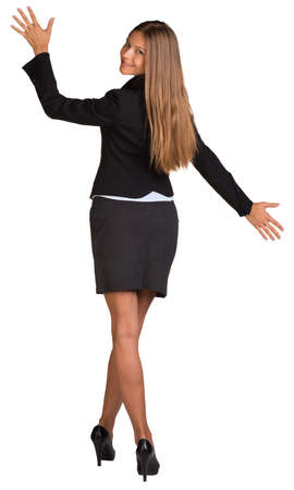 Businesswoman opened her arms to the side photo