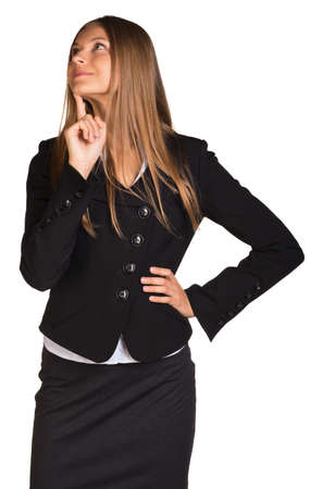 lost in thought: Lost in thought businesswoman Stock Photo