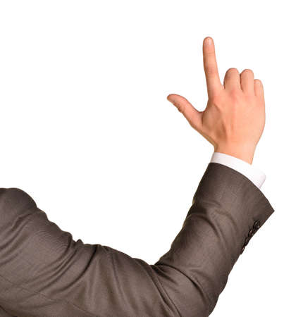 man pointing up: Business man pointing up finger blank copy space