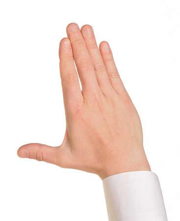 Caucasian male hand in a shirt photo