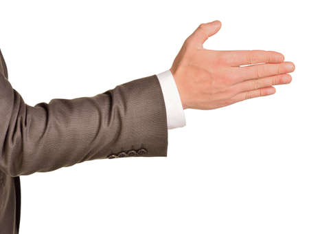 Caucasian male hand in a business suit photo