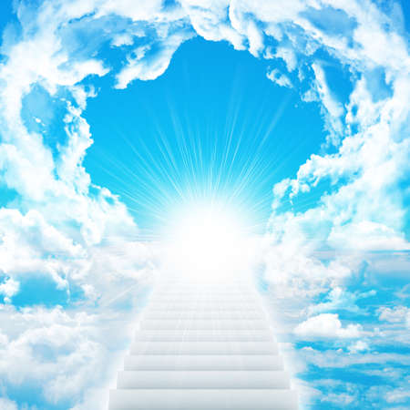 Stairs in sky with clouds and sun. Concept background 스톡 콘텐츠