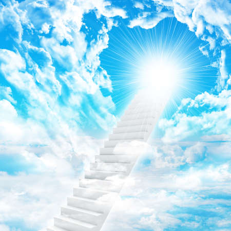Stairs in sky with clouds and sun. Concept background photo