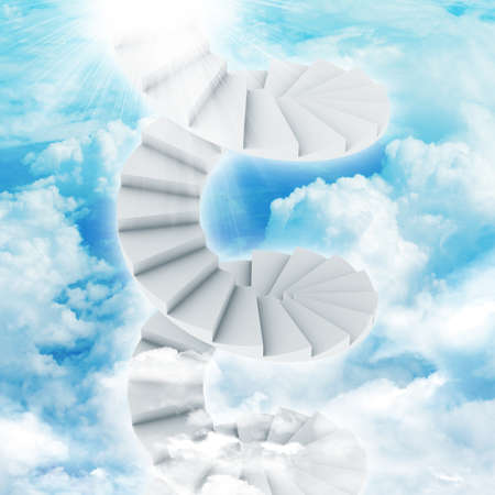 Spiral stairs in sky with clouds and sun. Concept background photo