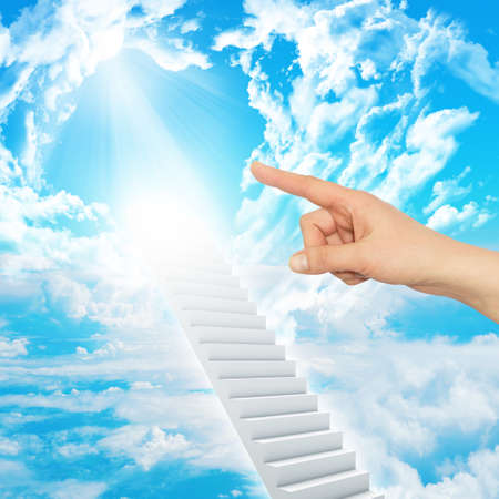 indicates: Finger indicates stairway to heaven with clouds and sun. Concept background