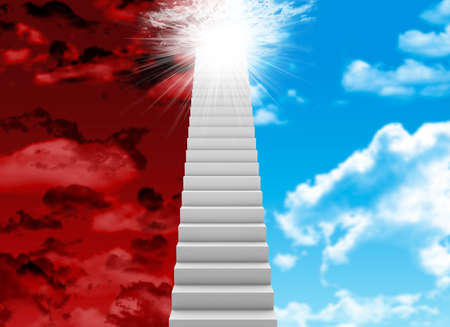 Scala bianca con cielo rosso e blu come sfondo