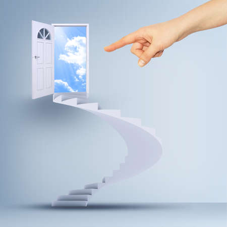 spiral stairs: Finger pointing to spiral stairs and magic doors leading to a cloudscape