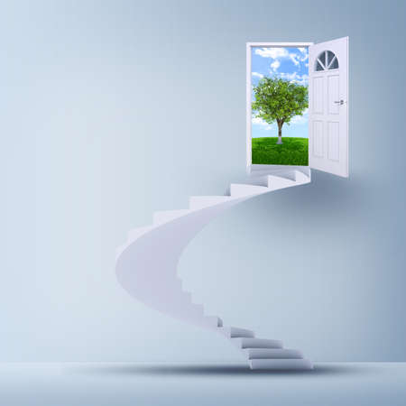 Spiral stairs and magic doors leading to a landscape photo