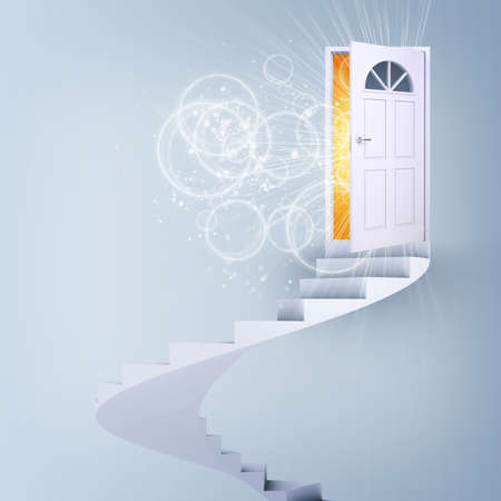 spiral stairs: Spiral stairs and magic doors. Concept of freedom Stock Photo