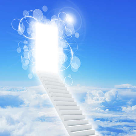 elysium: Stairs in sky with clouds and sun. Concept background Stock Photo