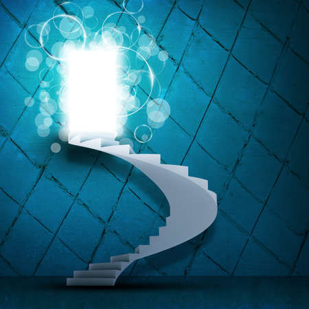spiral stairs: Spiral stairs and magic doors leading to a light Stock Photo