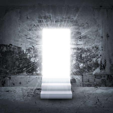 door to door: Stairs and magic doors leading to a light
