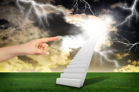 indicates: Finger indicates stairway with thunderstorm