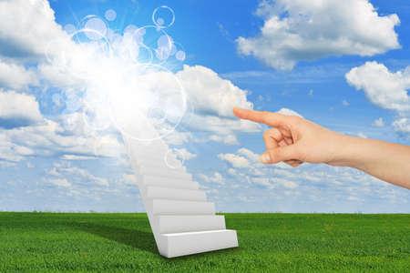indicates: Finger indicates stairway to heaven Stock Photo