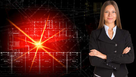 premises: Businesswoman in suit  Glowing architectural drawing