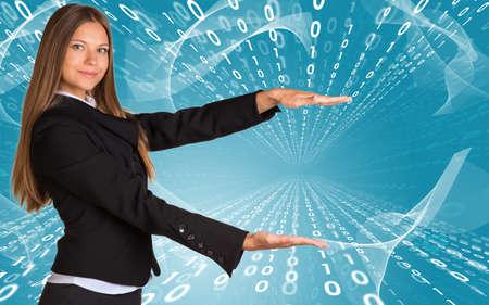 Businesswomen hold empty copy space photo