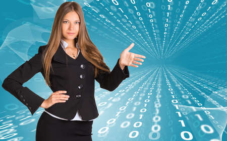 Businesswomen pointing to empty copy space photo