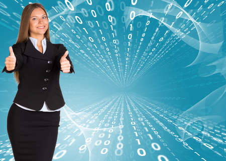 Businesswomen showing thumb up photo