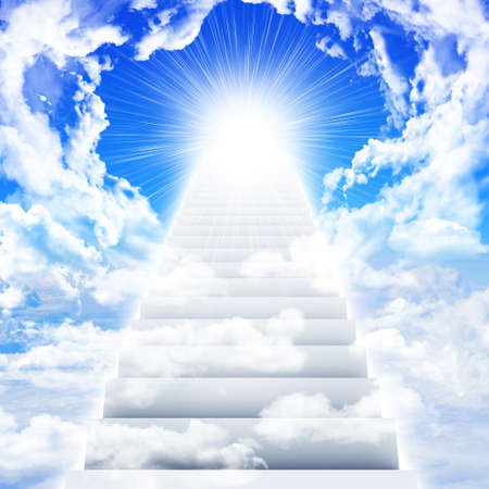 Stairs in sky with clouds and sun photo