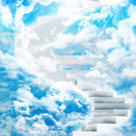 sky is the limit: Spiral stairs in sky with clouds and sun Stock Photo
